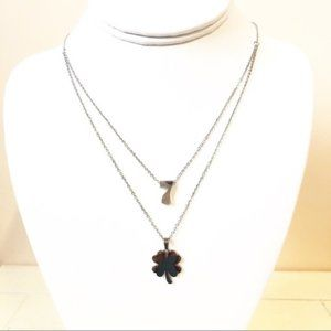 Jewelry - NEW Lucky 7 Clover Layer Necklace Stainless Steel